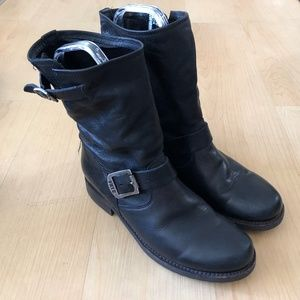 Frye Veronica Short Slouchy Boot black leather 7